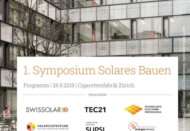 1. Symposium Solares Bauen 26.09.2019 in Zürich
